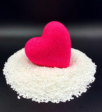 Load image into Gallery viewer, Pink Heart wholesale vivid fuscia pink bath bomb heart, pink bath bomb heart, pink bath water, Lovers bath bomb heart, wholesale big bath bomb, Heart bath bombs, heart bath bombs bulk, bulk heart bath bombs, bath bomb heart, love bath bomb, valentine, bathroom decorations, bachelorette wedding gift, made in USA, bath bomb hearts valentines