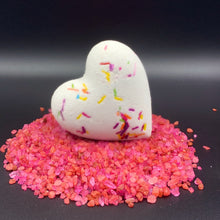 Load image into Gallery viewer, Valentine bath bomb, Heart bombs, heart bath bombs bulk, bulk heart bath bombs, Bath bomb bullet surprise, vibrator, itsthebomb.com, its the bomb, bath bomb, heart, valentine, dick soap, naughty soaps, party, decorations, party time, swinger party, bachelorette wedding gift, made in USA, hearts valentines