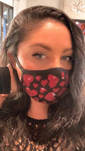 Load image into Gallery viewer, Red sparkle hearts corona virus sparkle mask with crystals, sparkly pretty mask with crystals, bling mask crystal, crystal mask, nude mask, red mask, black mask with crystals, crystal mask, white mask crystals, pink mask crystals, pink crystal mask, black crystal mask, crystal mask nude sparkle mask