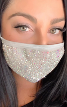 Load image into Gallery viewer, Silver sparkle Corona virus mask with crystals, pretty mask with crystals, bling mask crystal, crystal mask, nude mask, red mask, black mask with crystals, crystal mask, white mask crystals, pink mask crystals, pink crystal mask, black crystal mask, crystal mask nude
