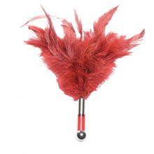 Load image into Gallery viewer, Tantra teaser, tantra duster, sexy duster, red feathers, purple feathers, red feather duster, purple feather duster, french maid duster, feather teaser, feather tease