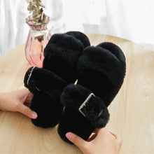 Load image into Gallery viewer, Wool Fur Plush Slipper Sandals~Adjustable buckle