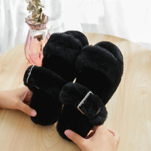 Wool Fur Plush Slipper Sandals~Adjustable buckle
