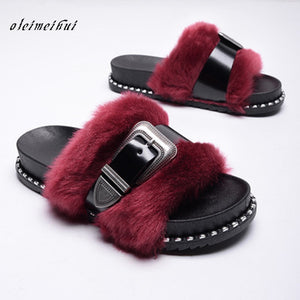 NEW! Faux Fur with a Patten Leather Adjustable Strap Across the Fur, Slide on Slippers~Cabernet