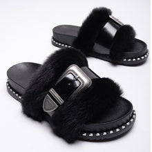 Load image into Gallery viewer, Slide on Slippers~Black on Black ~ NEW! Faux Fur with a Patten Leather Adjustable Strap Across the Fur