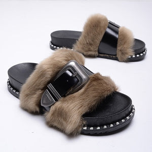 NEW! Faux Fur with a Patten Leather Adjustable Strap Across the Fur, Slide on Slippers~Military Ash
