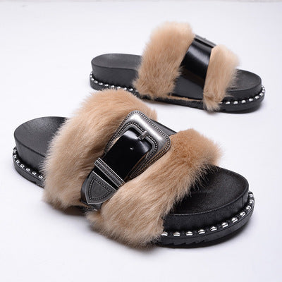 NEW! Faux Fur with a Patten Leather Adjustable Strap Across the Fur, Slide on Slippers~Black on Nude