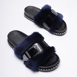 Slide on Slippers~Sable ~ NEW! Faux Fur with a Patten Leather Adjustable Strap Across the Fur