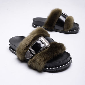 Slide on Slippers~Black on Black ~ NEW! Faux Fur with a Patten Leather Adjustable Strap Across the Fur