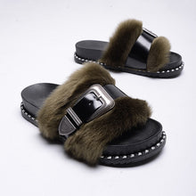 Load image into Gallery viewer, Slide on Slippers~Black on Nude ~ NEW! Faux Fur with a Patten Leather Adjustable Strap Across the Fur