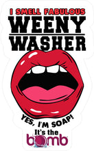 Load image into Gallery viewer, weenie washer, Mouth soap, weenie washer, martian mouth, valentine gift, shower masturbation, dick soap, clean your dick soap, gag gift soap, shower sex, sexy soap, sexy gift, gay gift for him, self love, novelty gift, bachelorette bachelor party, gay party, party soap, made in America, USA, martian green soap, gag gift