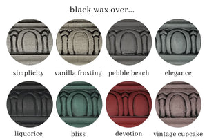 Country Chip Paint Black Wax used on different color finishes