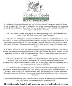 Farmhouse Finishes Safe Paint flyer explaining it's history, use and information about the paint