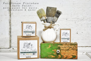 Farmhouse Finishes Safe Paint for Walls, Furniture and more shown in different size boxed containers
