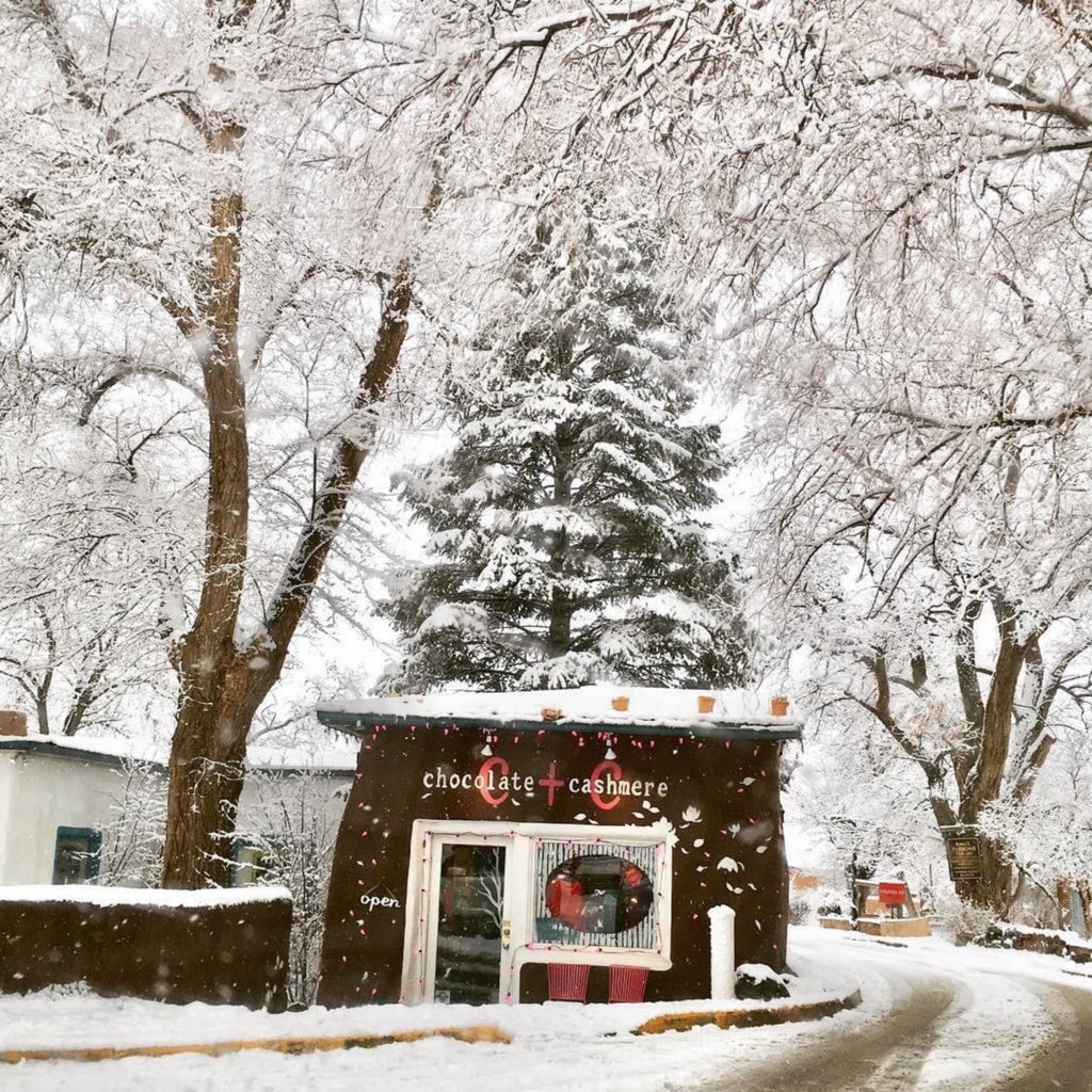Snowy chocolate + cashmere boutique in Taos, New Mexico