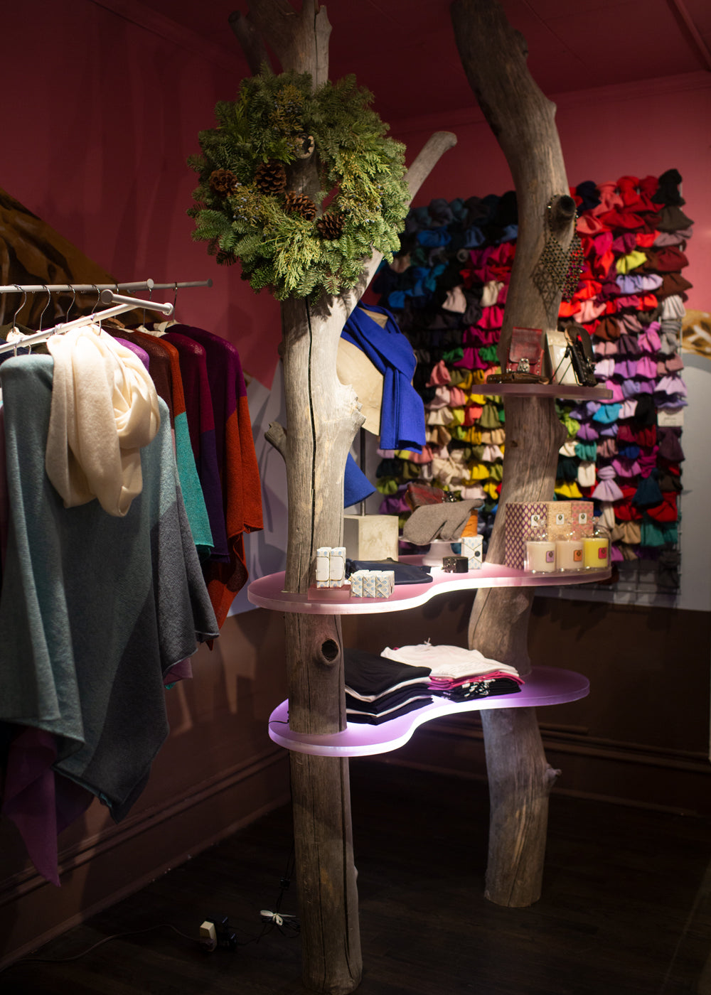 chocolate + cashmere boutique at 109 E. Palace on the Plaza in Santa Fe