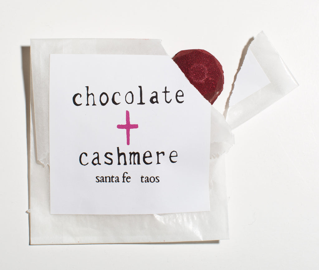 Artisan chocolate bon bon from chocolate + cashmere in Taos and Santa Fe