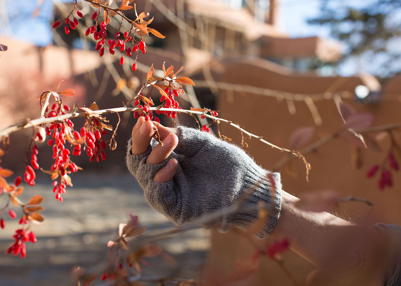 Johnny Ortiz of / Shed at Mabel Dodge Luhan House in Taos with Golightly Cashmere Fingerless Gloves