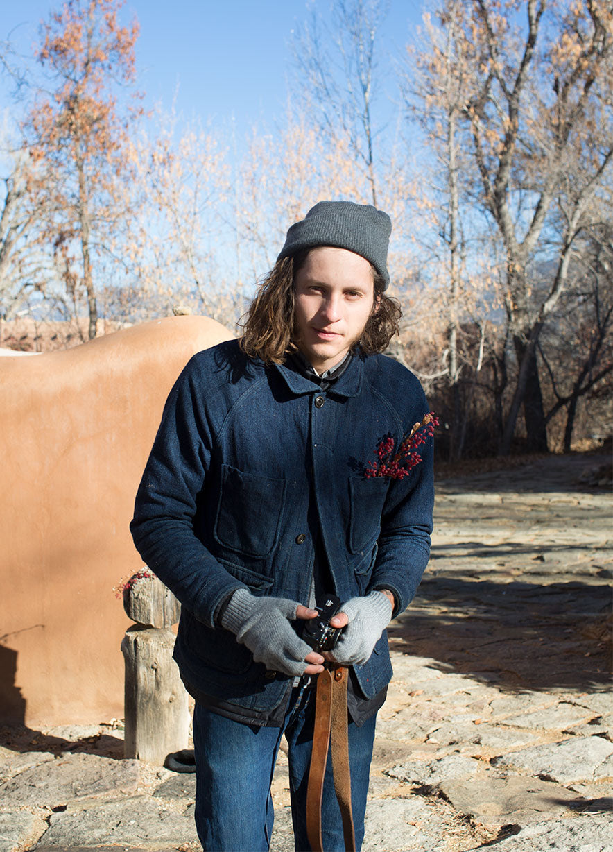 Johnny Ortiz of / Shed at Mabel Dodge Luhan House in Taos with Golightly Cashmere Watchcap and Fingerless Gloves