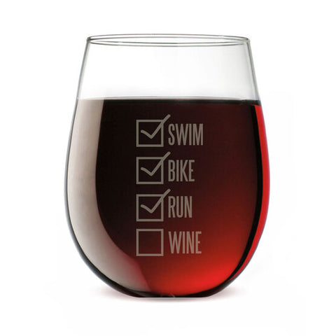 Triathlon wine glass