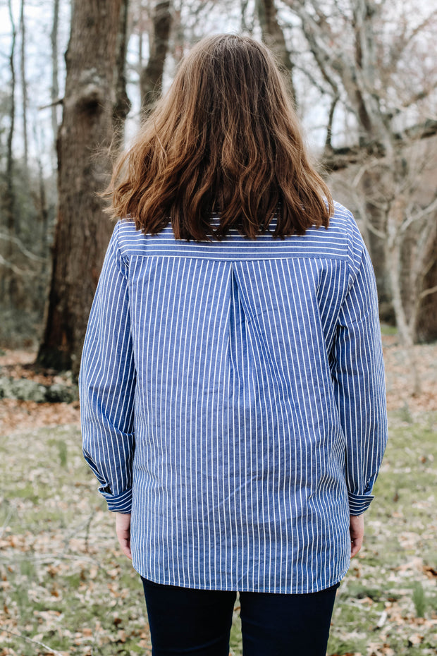 Charlotte Long Sleeve Striped Button Up Blouse In Blue