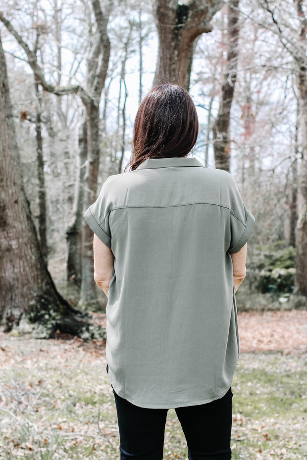 Cheyenne Button Up Blouse in Moss