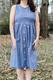 Jasper Button Dress in Indigo Blue