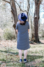 Jordan Short Sleeve Striped Dress in Navy + Grey
