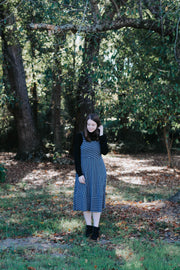 Allie Striped Dress in Navy + Grey