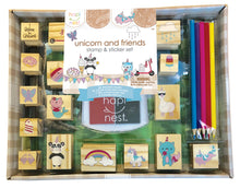 Load image into Gallery viewer, Unicorn and Friends Stamp & Sticker Set