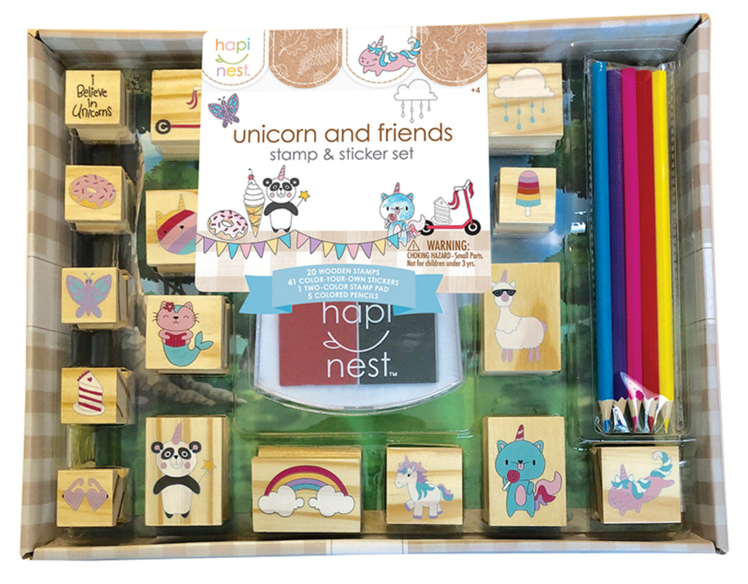 Unicorn and Friends Stamp & Sticker Set