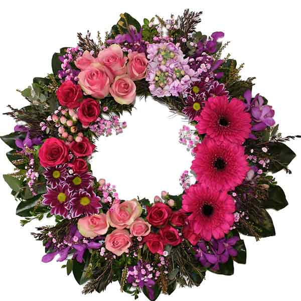 Pink eternity wreath - Click For Flowers