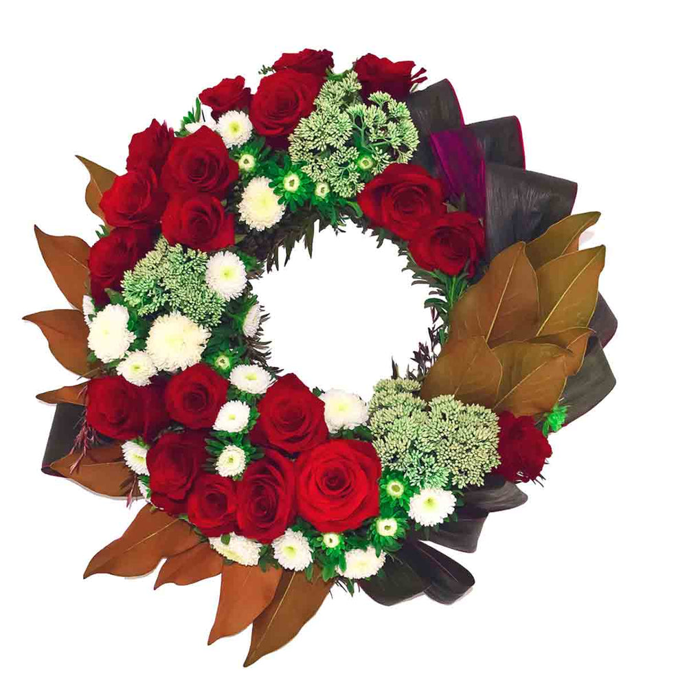 Rich reds floral wreath - Click For Flowers