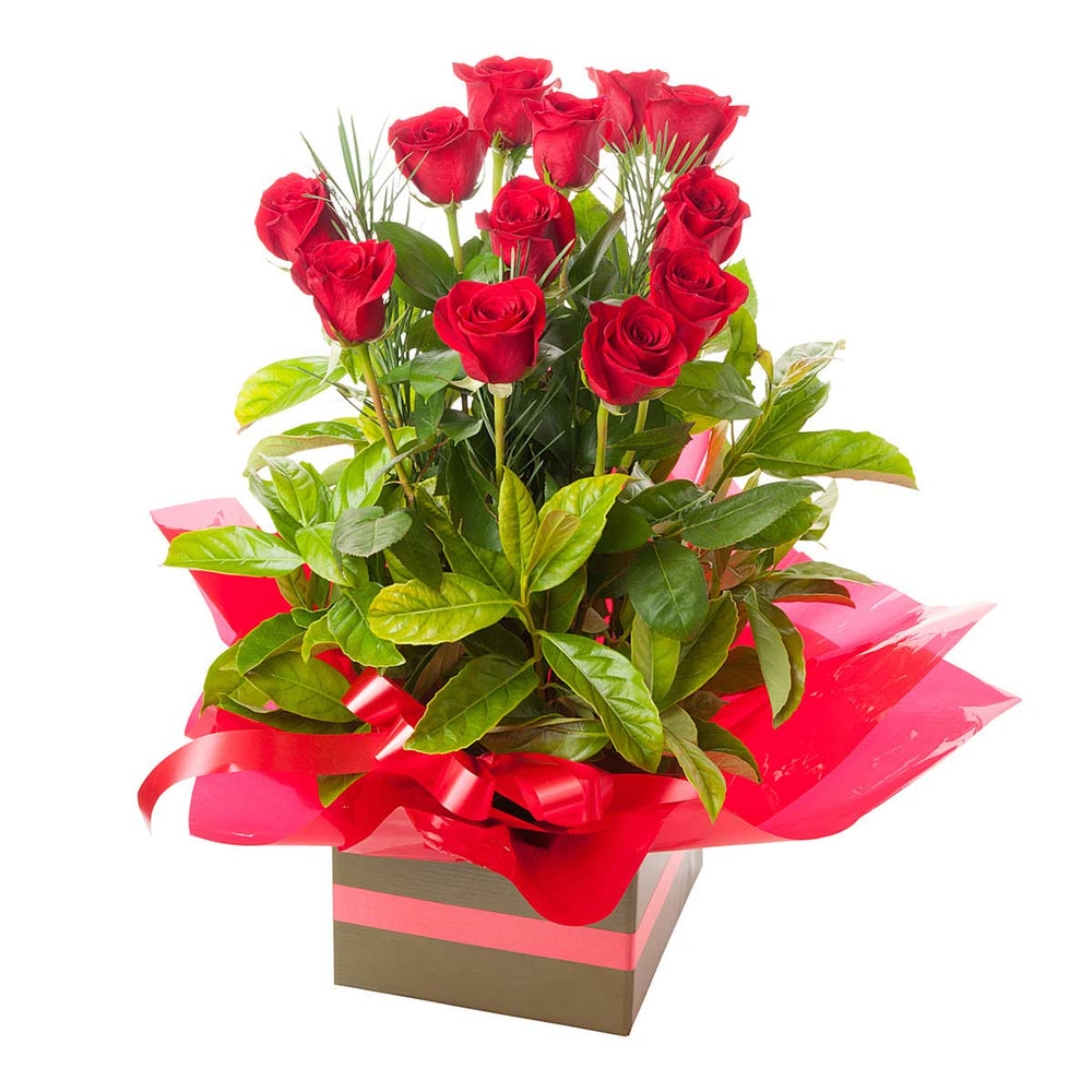 Dozen Red Rose Arrangement - Click For Flowers