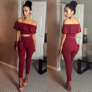 Sexy Ruffled Off Shoulder Jumpsuit - 60%OFF!