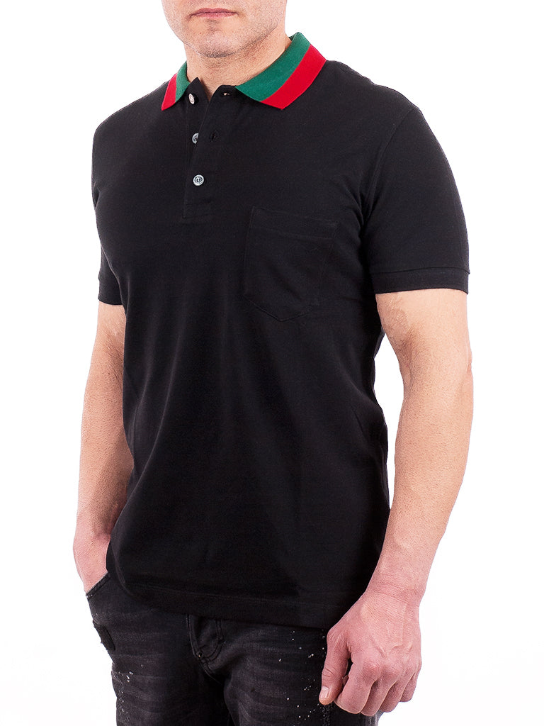 99fa79bc Mens Black Gucci Polo Shirt Green and Red Collar – ForeverBargains ...