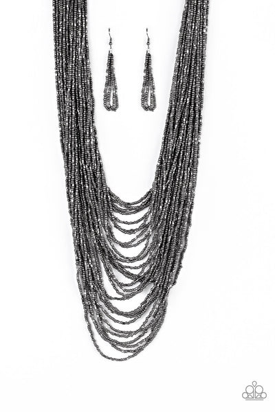 Paparazzi Dauntless Dazzle Necklace-Black/Gunmetal