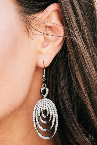 Cosmically Cosmopolitan - Black White Rhinestone Earrings - Paparazzi Accessories