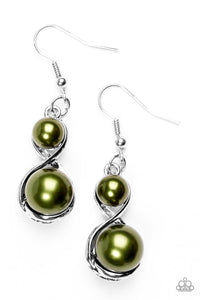 Set The Stage - Green Pearl Earrings - Paparazzi Jewelry