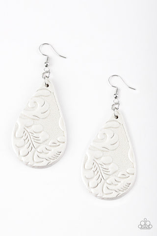 Paparazzi Feelin' Groovy Leather Earrings-White