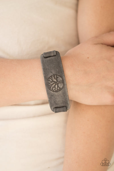 Remember Your Roots - Gray Leather Bracelet - Paparazzi Jewelry
