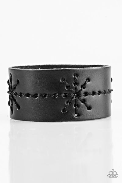 Nautical Nature - Black Leather Urban Bracelet - Paparazzi Accessories