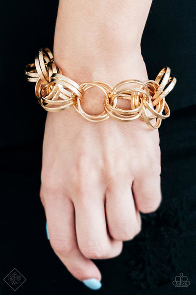 Paparazzi Statement Shimmer Gold Bracelet