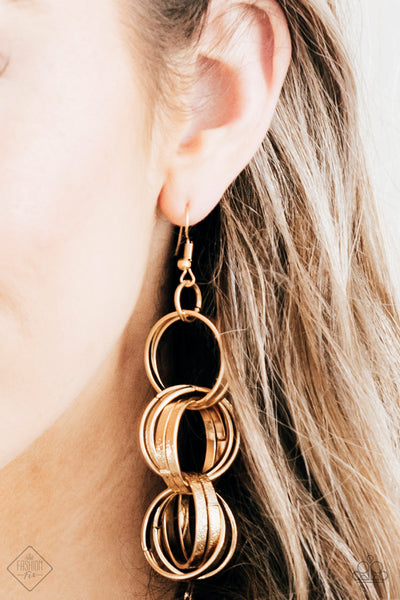 Paparazzi Secretary of STATEMENT Gold Earrings