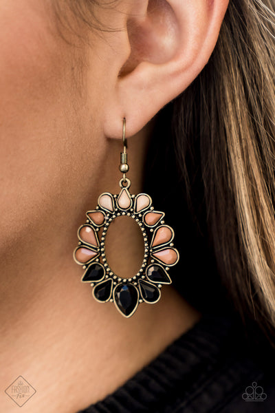 Fashionista Flavor - Multi Brass Earrings - Paparazzi Accessories