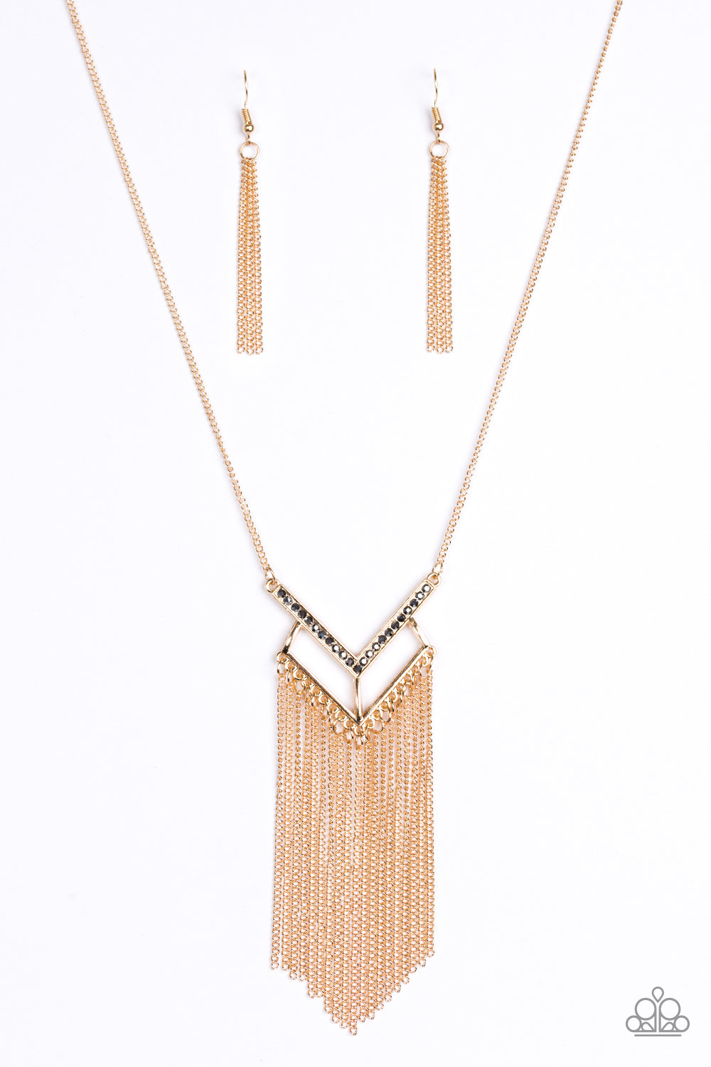 Paparazzi Alpha Glam Fringe Necklace-Gold