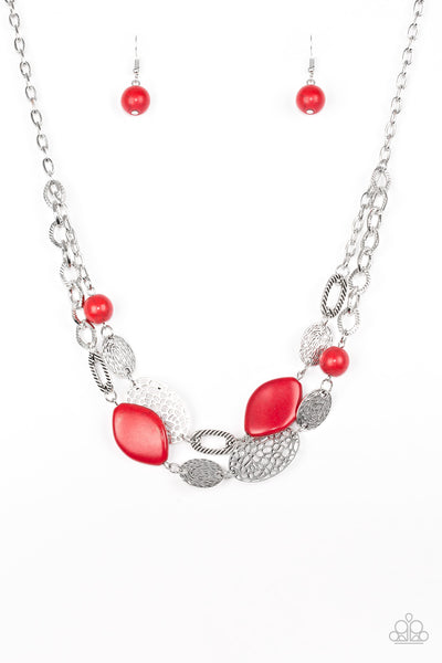 Second Nature - Red Necklace - Paparazzi Accessories