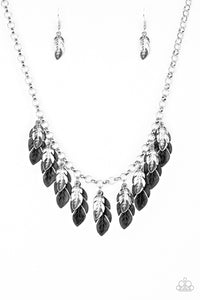 Rule The Roost - Black/Silver Feather Fringe Necklace - Paparazzi Accessories