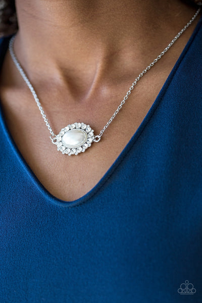 Stardom Shine - White Rhinestone Pearl Necklace - Paparazzi Accessories