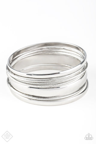 Sahara Shimmer - Silver Bangle Bracelet - Paparazzi Accessories